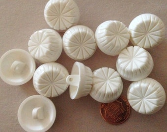 "Lot of 12 Thick White Plastic Shank Buttons 7/8"" 22.5mm # 7235"