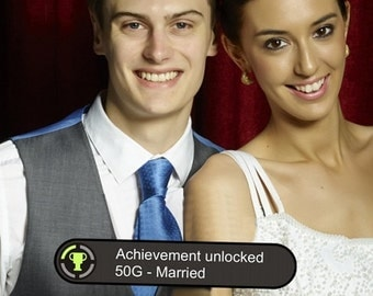xBox Achievement Photo Booth Sign Married 013-457, Gamer Wedding Gift