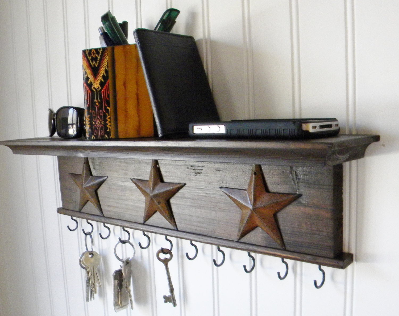 Key Holder Wall Shelf Modern Rustic Wood By