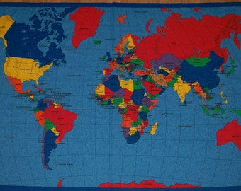 World Map Cotton Fabric Quilting Learning Tool