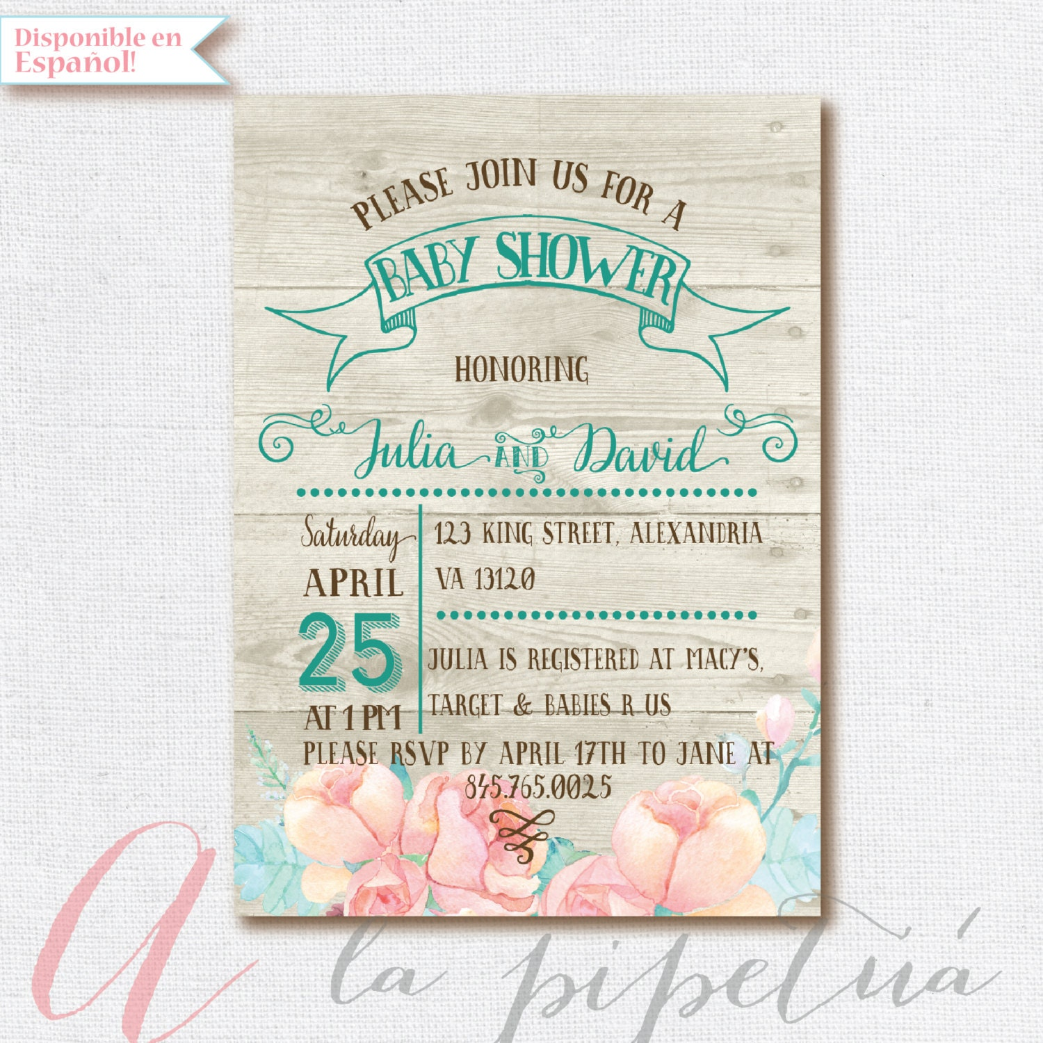 baby shower invitation coed babyshower wood by pipetua on etsy