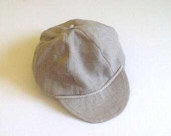 Linen hat beige boys linen hat, summer hat, newsboy hat, Toddler boy hat, Linen newsboy cap