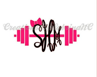Barbell Decal With Monogram-