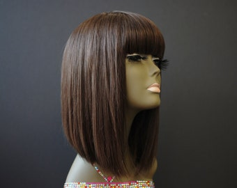 Wishe KY : 100% remy human hair wig- Light Brown Color - Cute china bang