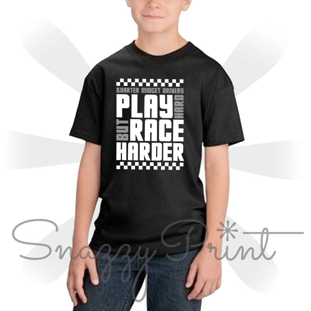 Kids quarter midget racer tee shirt kids fun t shirt racing for Custom race shirts no minimum
