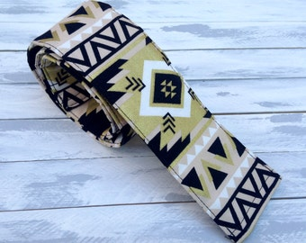 DSLR Aztec Camera Strap Cover-Lens Pocket and Padded-Black-Gold-Cream-Photographer Birthday Gift-Tribal-Chevron