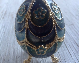 Vintage Monet Blue Egg Trinket Box