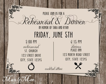 Rehearsal Dinner Invitation, Wedding Rehearsal Invitation, Rehearsal and Dinner Invite, Printable, Digital