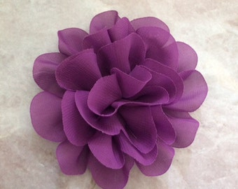 Chiffon flower, large flower, purple flower, lace flower, flower puff, flower supplies, DIY supplies, headband flower