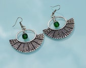 Stunning handmade Tribal ethnic gypsy design earrings with green beads.