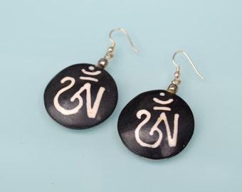 Simple recycle Tibetan buddhist OM mantra Yoga handmade bead earrings.