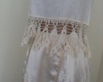 Bohemian dress two-piece top and skirt -  linen and lace crocheted,Boho dress36EU/8USA