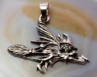 Witch 925 sterling silver pendant -- 4417