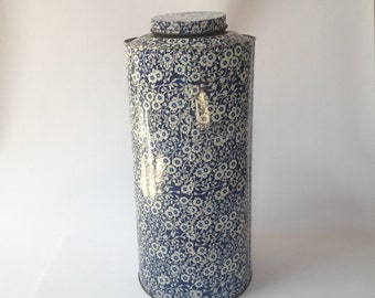 Tall Vintage Italian Tin with Lid- Floral Motif