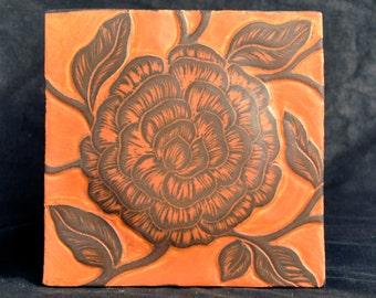 "Decorative Sgraffito Carved Porcelain Tile 6"" square"