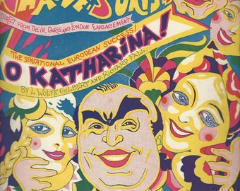 """O, Katharina! from Balieff's """"Chauve Souris"""" (1924) Vintage Sheet Music Very Colorful Cover."""