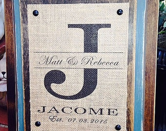 Personalized Burlap Print and Wood Sign - Wedding, Engagement, Anniversary Gift