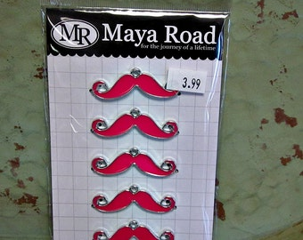 Maya Road Mustache Charms - Bubblegum