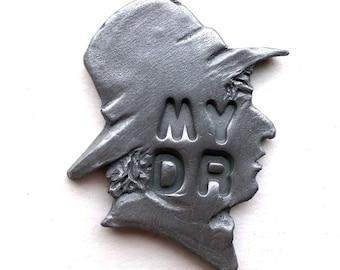 Tom Baker Dr Who inspired Pin Badge or Magnet