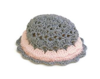 Hand Crochet Baby Hat / Newborn Beanie / Baby Girl Hat / Pink and Gray Baby Hat / Ruffled Baby Hat / Infant Hat Girl / Baby Beanie Ruffles