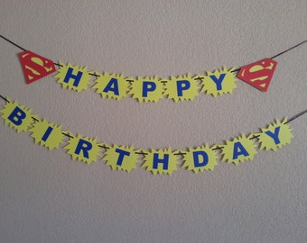 Superman Happy Birthday Banner. Can be personalized with name and age. Free Shipping USA.  Its a boy or its a girl banner