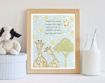 On the Night You Were Born, Giraffe Nursery Decor, Giraffe Nursery, The Night You Were Born, Giraffe Nursery Art, Yellow Baby Room