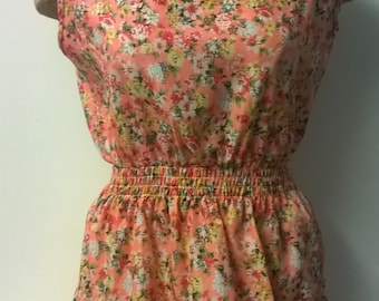Vintage Style Summer Floral Dress, Pink Dress, Flower Dress, Womens Dress, Beech, Holiday, Sleeveless Dress
