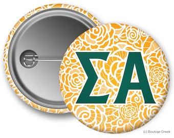 SA Sigma Alpha Rose Button