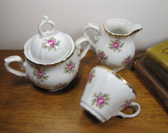 Vintage Small Tea Set - Cup, Sugar Dish and Creamer - Rose Pattern