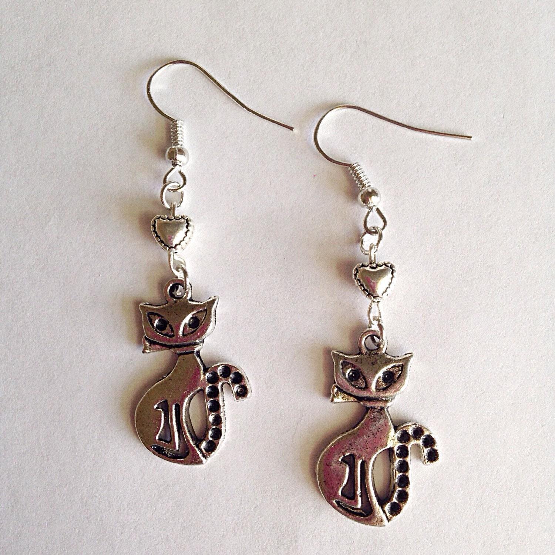 Cat dangle earrings cat earrings kitty earrings cat for Cat in the hat jewelry