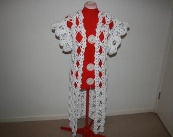 Crochet Coat 'She's An Angel' Chunky White Wool Long Crochet Coat