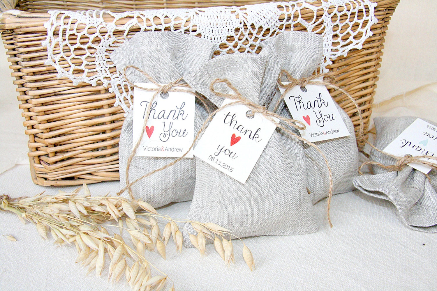 Gift Bag: Personalized Linen Favor Bag Wedding Gift Bags By