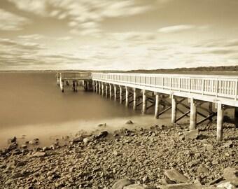 Vintage Pier ~ Colt State Park, Bristol, Rhode Island, Sepia, Earth Tones, Beige, Nautical, Fishing Pier, Ocean, RI, Artwork, Photograph