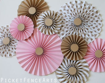 white and gold paper rosettes paper fans backdrop wedding