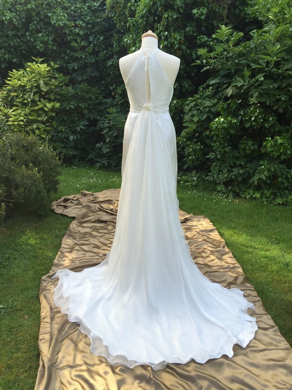 Wedding dress silk long length removable train halter neck for Best etsy wedding dress shops