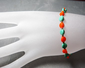 Vintage Green Turquoise and Orange Coral Glass Beaded Bracelet