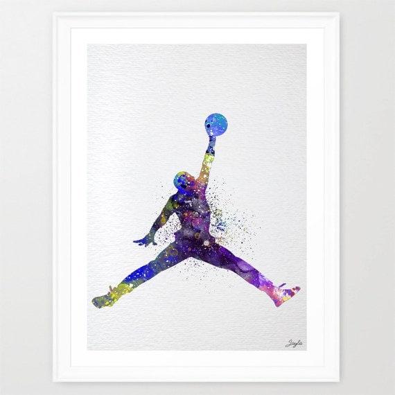 Michael Jordan Watercolor Illustration Art By KidsAndHomes