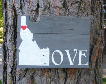 "Joyful Island Creations ""LOVE"" Idaho custom color wood sign, state silhouette love sign, idaho sign, love sign"