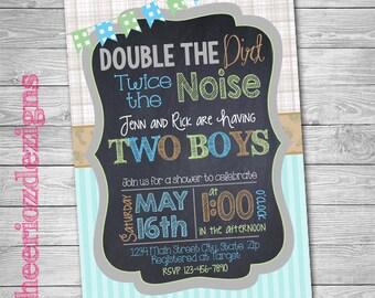 Twin Boys- Baby Boy Twins- Baby Shower Invitation- Digital File - Customizable