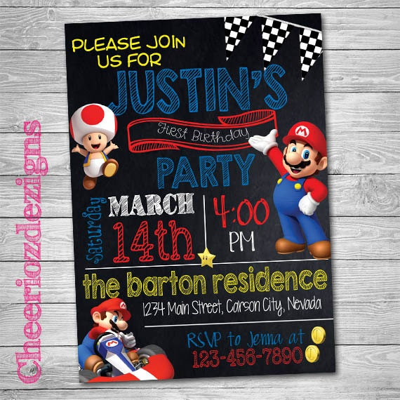 Mario Kart Birthday Invitation Mario Party Boy By