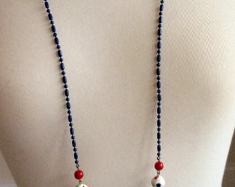 Red, White and Blue Retro Long Chain Necklace