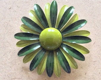 Retro Large Forest and Lime Green Mod Flower Brooch SALE