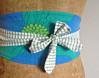 Reversible Obi Belt - Blue/Green/Denim Floral (upcycled)