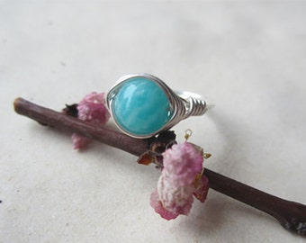 Natural amazonite ring with 999 silver wire wrapped, handmade