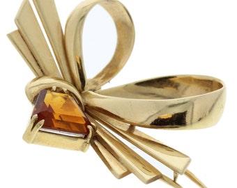 Retro 14k Yellow Gold Tiffany & Co. Brooch with Citrine