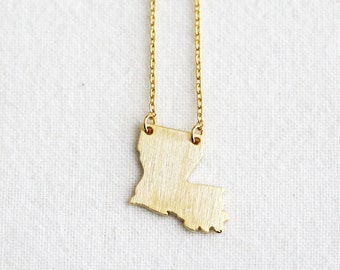 Louisiana state necklace, State pendant necklace, State charm necklace, State jewelry, Louisiana necklace, Louisiana pendant necklace