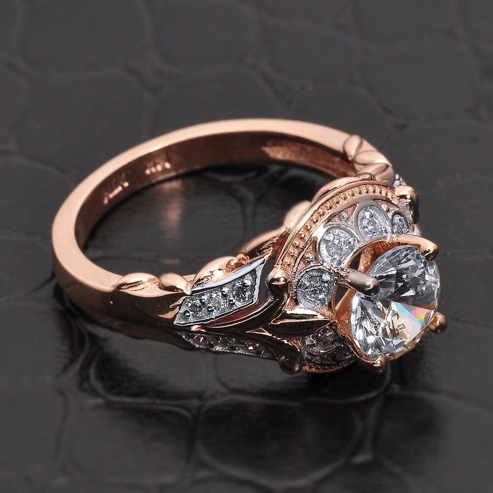gold antique halo cz unique engagement ring