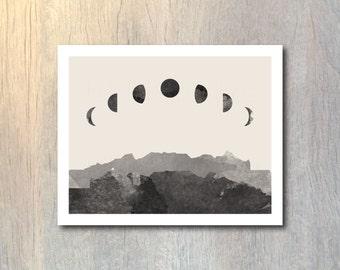 Phases of the Moon Watercolor Art Print - wall art, home decor, bedroom decor, gift idea, luna print poster