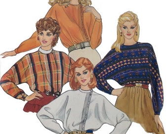 1980s woman top pattern / Butterick 4474 / size 10 / asymetrical front button closing / collar variations / dolman sleeves / PREVIOUSLY CUT
