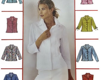Woman shirt pattern, McCall's 3541, size 10 to 16, sleeve variations, front & back darts, side slits button front, PREVIOUSLY CUT